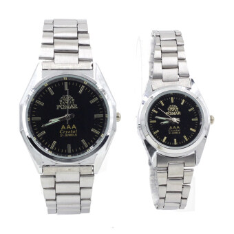 POMAR นาฬิกาข้อมือคู่รัก 9186-8122 (Silver/Black) พิเศษแถมกล่องนาฬิกาสุดหรู