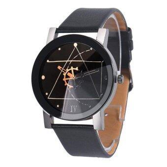 ผู้หญิงแฟชั่นเครื่องหนังนาฬิกาข้อมือหน้าปัดผลึกคล้ายคลึงกรณีนาฬิกากลมสีดำ