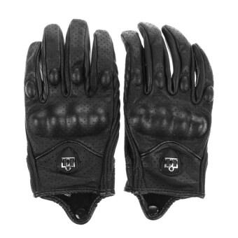 ขอเสนอ กีฬากลางแจ้งอย่างพวกรถจักรยานยนต์ถุงมือถุงมือหนังสั้นนิ้วที่มีรูใหญ่(สีดำ)