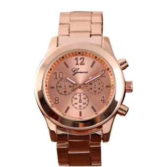 ผู้หญิงผู้หญิงผู้หญิงแฟชั่นเจนีวานาฬิกาข้อมือนาฬิกาควอทซ์สเตนเลส(กุหลาบทอง)-