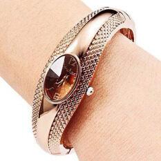 แฟชั่นโกลเด้นรีนาฬิกาสร้อยข้อมือกำไลแขนผู้หญิงควอทซ์นาฬิกาข้อมือทอง