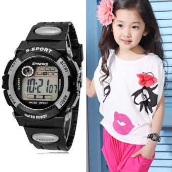 นาฬิกาข้อมือแบบสปอร์ตสำหรับเด็กผู้หญิง มัลติฟังก์ชั่น กันน้ำ (สีเทา)