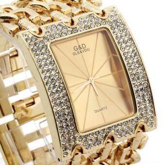 สายโซ่ผู้หญิงผสมระบบควอตซ์นาฬิกาข้อมือ (ทอง) (image 1)