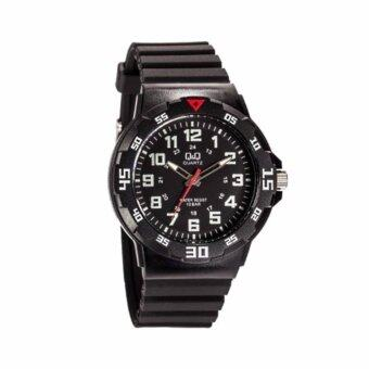 ประเทศไทย Q and Q นาฬิกาข้อมือผู้ชาย สายเรซิ่น สีดำ รุ่น VR18J001Y