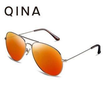 QINA แว่นกันแดดโพลาไรซ์สำหรับผู้หญิง กรอบทรงนักบินสีทองอ่อนเลนส์ป้องกันรังสี UV400 สีส้ม QN3526