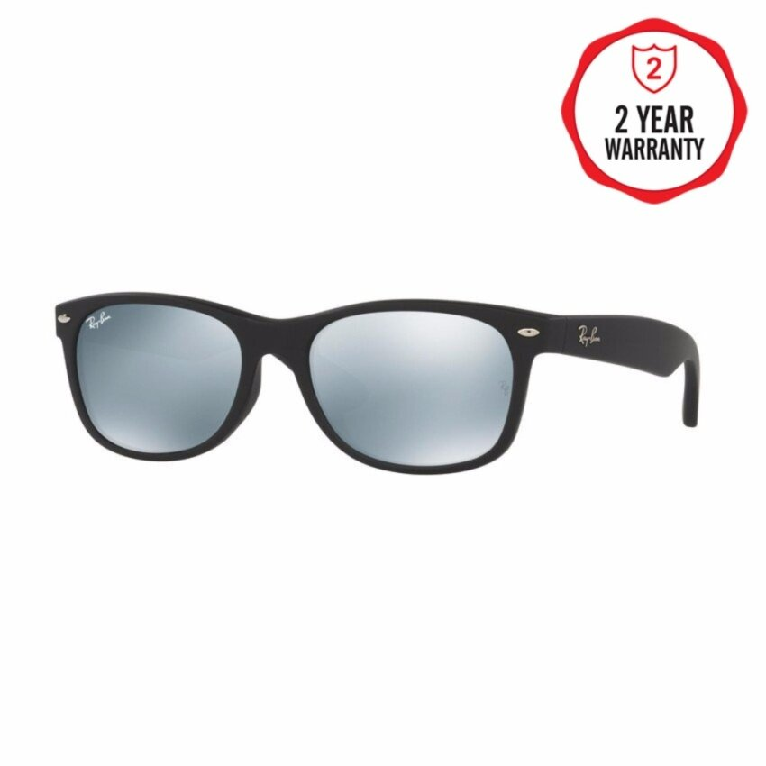 Ray-Ban แว่นกันแดด รุ่น New Wayfarer (F) RB2132F - Rubber Black (622/30) Size 55 Light Green Mirror Silver