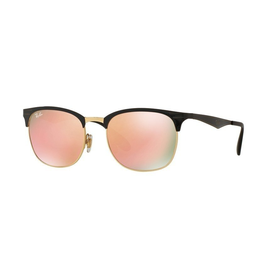 Ray-Ban แว่นกันแดด รุ่น - RB3538 - Top Shiny Black On Gold (187/2Y) Size 53 Light Brown Mirror Pink