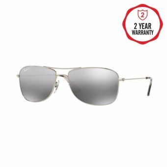 Ray-Ban แว่นกันแดด รุ่น - RB3543 - Shiny Silver (003/5J) Size 59 Grey Mirror Silver Polar