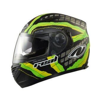 หมวกกันน็อค Real helmet รุ่น Bravo electro สีดำเขียว ด้าน