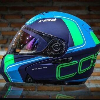 REAL helmet หมวกกันน็อค Real COSMO R สี ฟ้า BLUE (Big Bike and motorcycle Helmet)