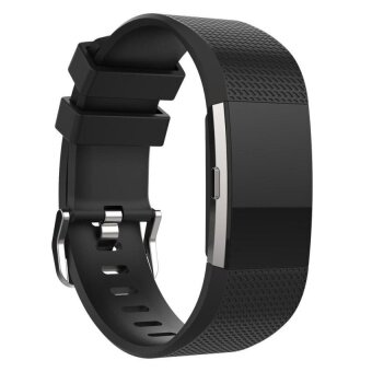 Replacement Wrist Strap adjustable band length Soft SiliconeWatchband For Fitbit Charge 2 Watch Black S Size - intl