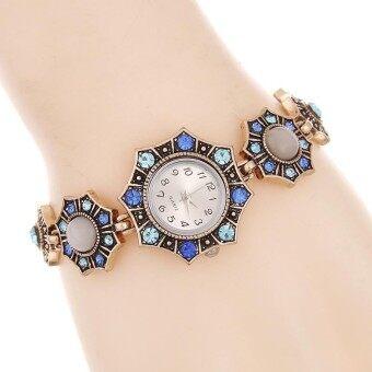 Retro Luxury Womens Bracelet Quartz Wristwatches Ladies Dress Watches Rhinstone Flowers Relogio Feminino Reloj Mujer Lovers Gift - intl