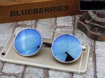 Retro Vintage Round Flip Up Sunglasses Circle Clip On Sunglasses Metal Sun Glasses----Silverblue