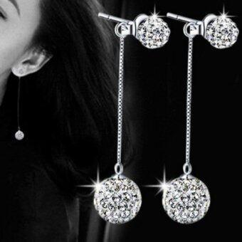 Rhinestone Ball Tassel Long bi-fold Drop Earrings - intl
