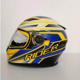 ประกาศขาย Rider helmet หมวกกันน็อค รุ่น Viper RACING สีเหลือง-นำ้เงิน แว่น 2ชั้น ไซส์L