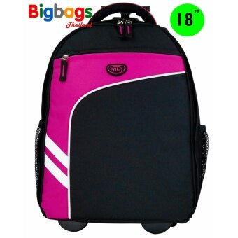 Romar Polo กระเป๋า กระเป๋าเป้ล้อลาก 18 นิ้ว รุ่น Polo R123418 (Black Pink)