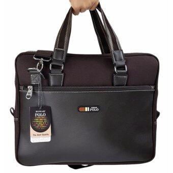 Romar Polo กระเป๋าใส่โน๊ตบุ๊ค Laptop กระเป๋าสะพายไหล่ กระเป๋าใส่เอกสาร กระเป๋าถือ ขนาด 16 นิ้ว รุ่น RMNB4295-2 (Brown)