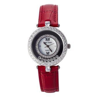 ประเทศไทย Royal Crown นาฬิกาข้อมือผู้หญิงประดับเพชร รุ่น 3628 (สีแดง)