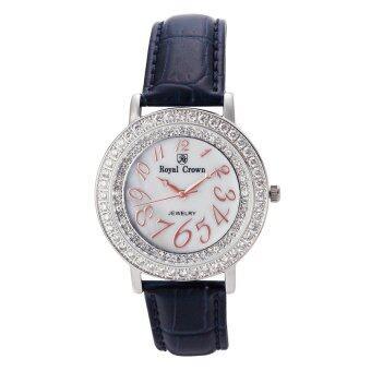 2561 Royal Crown นาฬิกาข้อมือผู้หญิงประดับเพชร - รุ่น 3632M สีน้ำเงินเข้ม