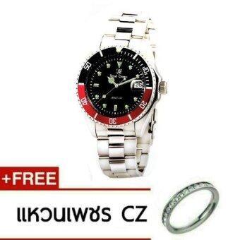 2561 Royal Crown นาฬิกาข้อมือผู้หญิง สายสแตนเลส รุ่น 3663L สี Black/Silver (แถวฟรีแหวน 1 วงค์)