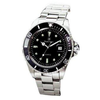 ประเทศไทย Royal Crown นาฬิกาข้อมือผู้หญิง สายสแตนเลสของแท้อย่างดี รุ่น 3663L (Black/Silver)