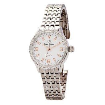 ราคา Royal Crown นาฬิกาข้อมือผู้หญิง สายสแตนเลส - รุ่น 6424L ( สีเงินหน้าปัดสีขาว )
