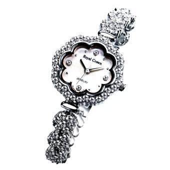ประเทศไทย Royal Crown นาฬิกาข้อมือผู้หญิง สายสแตนเลสประดับเพชร cz อย่างดี รุ่น 3816B ( สี Silver )