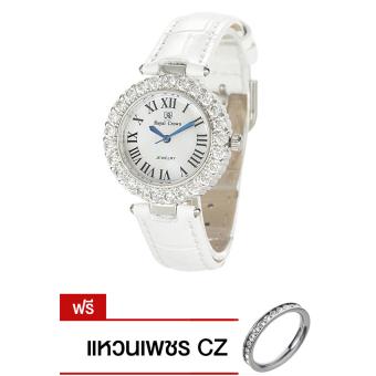 2561 Royal Crown นาฬิกาข้อมือผู้หญิง White สายหนัง รุ่น 6305-LE แถมฟรี แหวนเพชร CZ