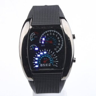 Harga RPM Turbo Blue & White Flash LED Watch Brand NEW Gift SportsCar Meter Dial Men / Blue Light / Black Band / Black