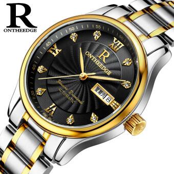 Ruizhiyuan ชายเข็มขัดเหล็กนาฬิกากันน้ำของแท้นาฬิกา