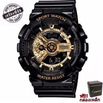 S SPORT นาฬิกาข้อมือ ชายและหญิง (แถมกล่องสวยหรู) กันน้ำได้ดี -GA110GB-1 (Black / Gold) New
