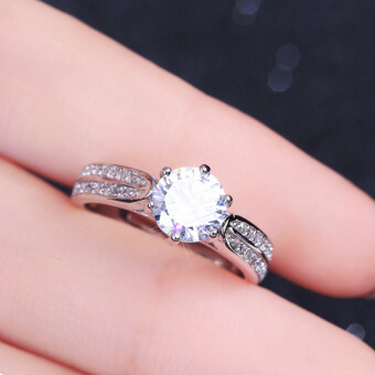 กะรัต S925 จำลองเพทายแหวนแต่งงานเงินสเตอร์ลิงแหวน