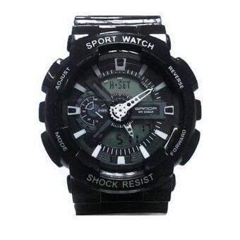 ประเทศไทย Sanda SP075BK นาฬิกาสปอร์ตสีดำ สายทำจากซิลิโคน รุ่น 299
