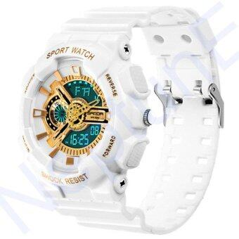 Sanda Sport ������������������������������������ ������������������ ��������������������� ������������������ ��������������� ��������� ������������������ Fashion Analog Digital LED Waterproof Multifunction Men Watch - White Gold