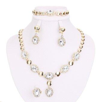 Sapphire Beads Jewelry Sets For Women Accessories Wedding Bridal CZ Diamond Necklace Earrings White - Intl