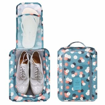 SAVFY กระเป๋ารองเท้า กระเป๋าใส่รองเท้า Shoes Pouch Portable ShoesOrganizer Shoes Bag(Blue Flower)