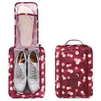 SAVFY กระเป๋ารองเท้า กระเป๋าใส่รองเท้า Shoes Pouch Portable ShoesOrganizer Shoes Bag(Wine Red Flower)