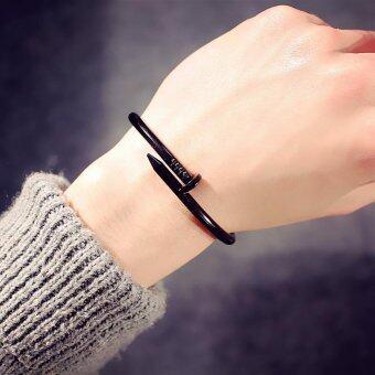 Screw Nail Fashion Men Women Stainless Steel Bracelets&bangles Black Bracelet for Women Gift - intl