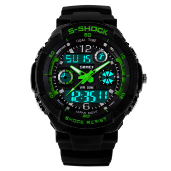 Harga Seckill S-SHOCK Outdoor Diving Sports Date LED Analog DigitalQuartz Watch (Green) - intl