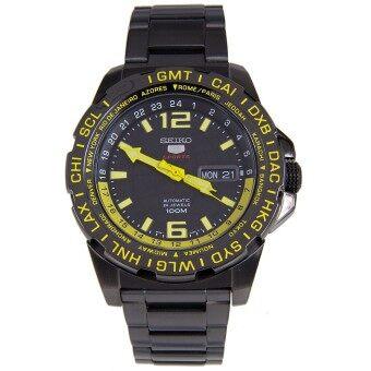 ราคา SEIKO 5 Sports Automatic นาฬิกาข้อมือชาย สีดำ/เหลือง สายสแตนเลส SRP689K1 black ip