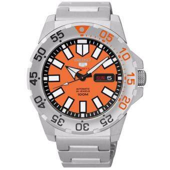 SEIKO Automatic Mini Monster นาฬิกาข้อมือผู้ชาย สีส้ม สายสแตนเลส รุ่น SRP483K1