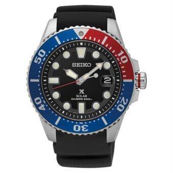 Seiko นาฬิกาข้อมือชาย Prospex SNE439P1 Solar Divers 200M Black Dial Rubber Strap