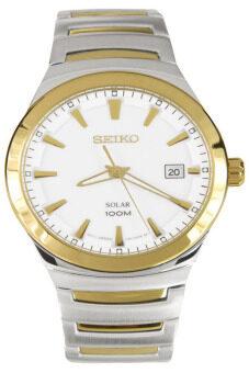 ประเทศไทย Seiko Solar นาฬิกาข้อมือผู้ชาย White/Gold สายสเเตนเลส รุ่น SNE292P1