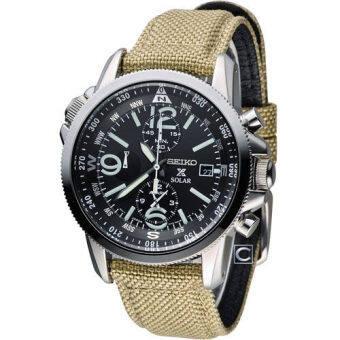 Seiko นาฬิกาข้อมือผู้ชาย สีน้ำตาล สายผ้า รุ่น SSC293P1