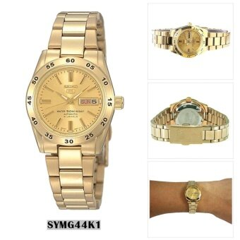 Seiko Watch 5 Automatic Gold Stainless-Steel Case Stainless-Steel Bracelet Ladies Japan NWT + Warranty SYMG44K1
