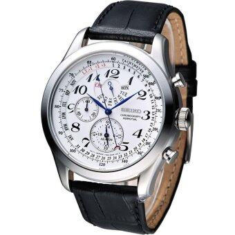 Seiko Watch Chronograph Perpetual Calendar Black Stainless-Steel Case Leather Strap Mens NWT + Warranty SPC131P1