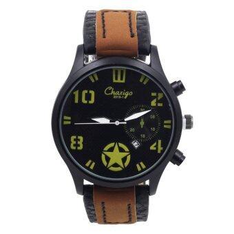 Sevenlight Date Quartz นาฬิกาข้อมือผู้ชาย ระบบวันที่ - GP9204 (Black/ Yellow)
