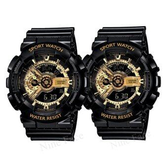 Sevenlight S SPORT นาฬิกาข้อมือคู่ (แถมกล่องสวยหรู) GP9210 (Black/Goldx2)