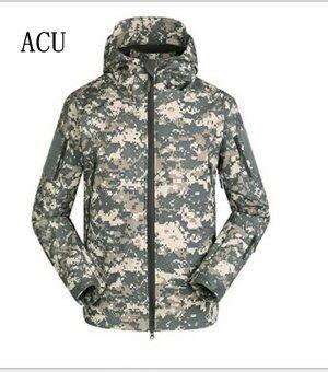 Shark skin soft shell V4.0 Technology wind rain multipurposeRaincoat professional Outdoor Ski-wear (ACU)