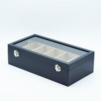 กล่องใส่แว่นตา กล่องแว่นตา กล่องแว่น กล่องเก็บแว่นตา ขนาด 5 ช่อง สีดำ ในเบจ